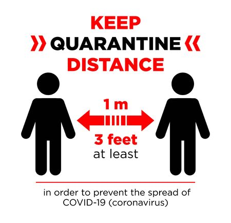 Keep quarantine distance sign. Coronavirus epidemic protective equipment. Preventive measures. Steps to protect yourself. Keep the 1 meter distance. Illustration, Vector.