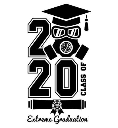 2020 Quarantine extreme graduation party. Graduate in a respirator and goggles. Concept for the design of a greeting card, logo, flyer, t-shirt design. Illustration, vector Logos