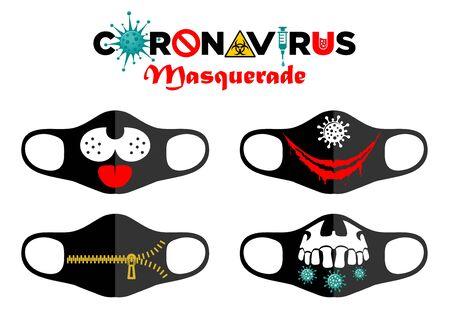 Print design concept on reusable face protection masks. Entertainment during coronavirus quarantine. Funny cartoon faces - smile, skull, zipper. Illustration, vector