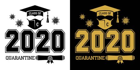Class of 2020 during quarantine - lettering for greeting, invitation card. Text for graduation design, greetings, t-shirts, party, high school or college graduates. Illustration, vector Ilustración de vector