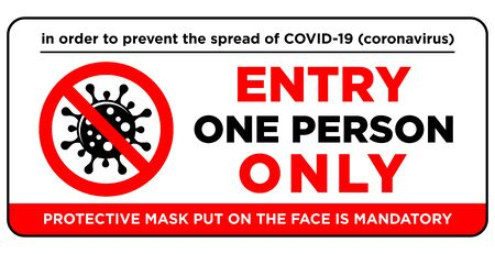 Door plate on the door - entrance for only one person using a face mask. Preventive measure against infection with COVID-19 (coronavirus). Illustration, vector 矢量图像