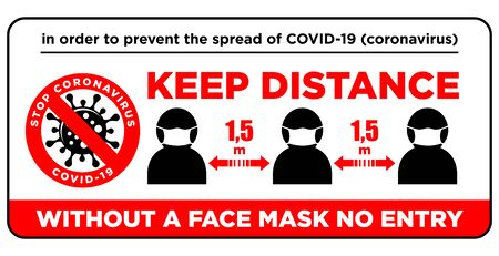 Warning sign Without a face mask no entry and keep safe distance of 1.5 m. Front door information plate. Quarantine actions against coronavirus COVID-19. Illustration, vector