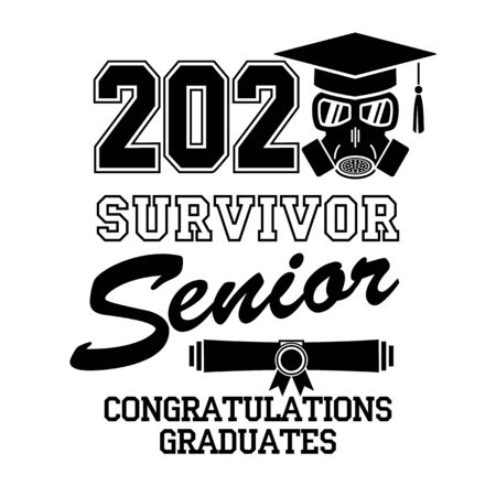 2020 senior.  Good luck, survivor. Concept of designing graduation party, greeting card, flyer during quarantine coronavirus(COVID-19). Illustration, vector