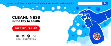 Landing page cleaning company. Hand in gloves holds bottle of antiseptic spray. Cleaning, disinfection, antibacterial treatment of rooms in order to avoid infection with coronavirus (COVID-19). Flat design, illustration, vector Ilustracja