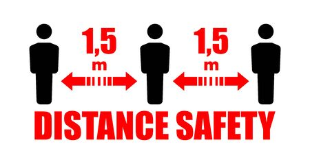 Keep safe social distance of 1.4 m. Warning sign on the front door. Vector