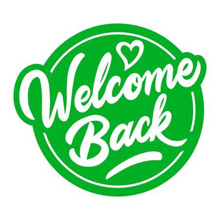 Lustiges Schild an der Haustür - Willkommen zurück! Wir haben nach der Quarantäne geöffnet. Vektor Vektorgrafik