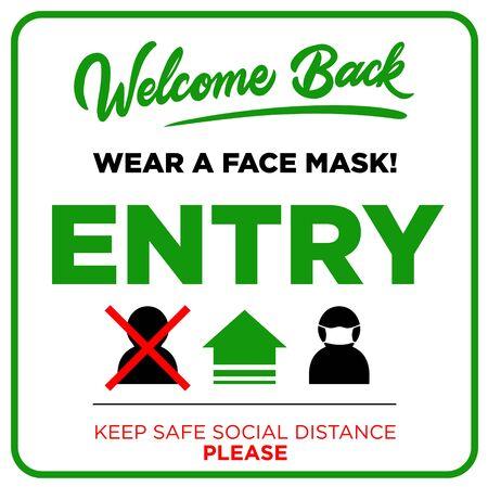Offenes Schild an der Haustür - Willkommen zurück! Wir arbeiten wieder. Halten Sie soziale Distanz und verwenden Sie eine Gesichtsmaske. Vektor
