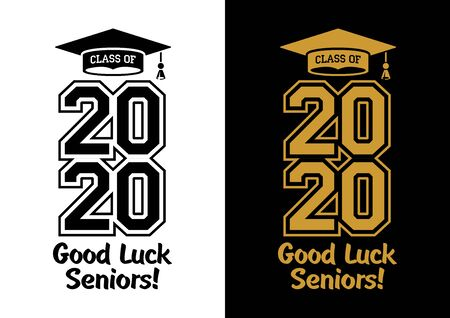 Class of 2020 . The concept of designing congratulations for seniors graduates of the school. T-shirt design. Vector Illustration