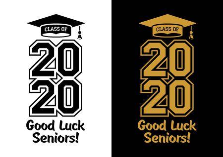 Class of 2020 . The concept of designing congratulations for seniors graduates of the school. T-shirt design. Vector Illustration