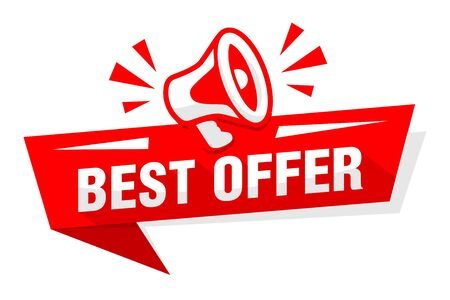 Advertising sticker best offer with red megaphone speaker. Illustration, vector Иллюстрация