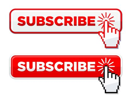 Click subscribe button by cursor hand clicking on it. Icon vector for website