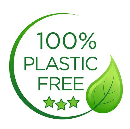 100 % plastic free emblem for packaging eco-friendly and organic products.