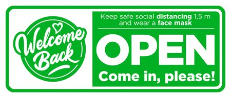 Open sign on the front door come in, were opening again! Keep social distancing and wear face mask. Vectores
