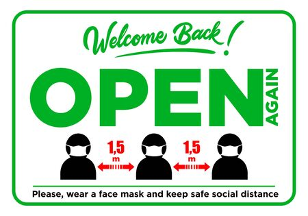 Reopening business or office. Green sign of front door. Wear face mask and keep social distancing. Illustration, vector Illustration
