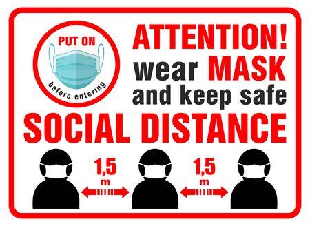 Panneau rouge d'avertissement sur la porte d'entrée de l'utilisation obligatoire d'un masque de protection et du maintien d'une distance de sécurité. Illustration, vecteur Vecteurs