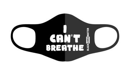 Print design concept on reusable face protection masks. Protest during coronavirus quarantine. I can not breathe. Illustration, vector 벡터 (일러스트)
