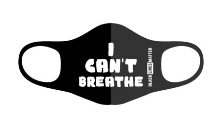 Print design concept on reusable face protection masks. Protest during coronavirus quarantine. I can not breathe. Illustration, vector