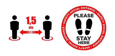 Vector of footprint sign with text keep your distance. 1,5 m safety social distancing sign for floor print. Social distancing concept.