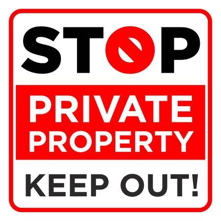 Panneau d'interdiction carré. Arrête, propriété privée, tiens-toi à l'écart. Illustration, vecteur Vecteurs