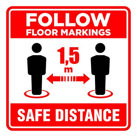 Safe social distancing vector isolated icon with description. You have to follow floor markings. Vector