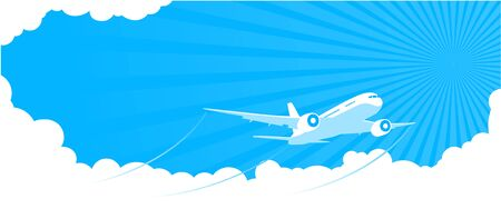 Summer entertaining airplane flight through blue sky with clouds. Space for flyer advertisement text. Illustration, vect