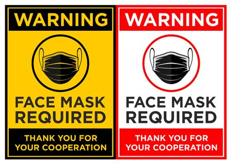 Face mask required sign. Vertical warning signage for restaurant, cafe and retail business.