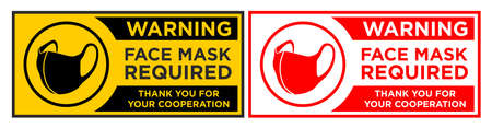 Face mask required sign. Horizontal warning signage for restaurant, cafe and retail business. Illustration, vector  イラスト・ベクター素材