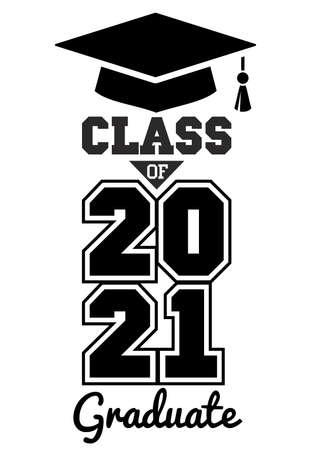 Class of 2021. The concept of design congratulations school graduation. Illustration, vector 向量圖像