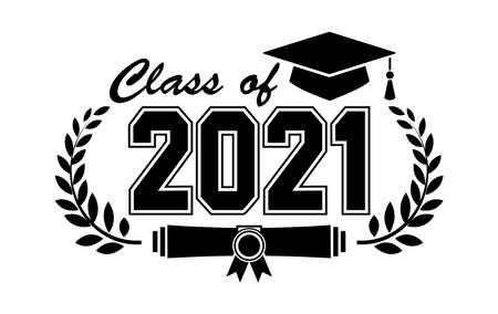 Lettering Class of 2021 for greeting, invitation card. Text for graduation design, congratulation event, T-shirt, party, high school or college graduate. Illustration, vector on transparent background