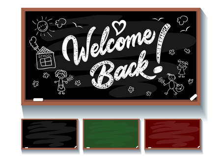 Welcome Back chalk inscription on blackboard. Set of three multi-colored blackboards for invitations and congratulations on September 1. Back to school greeting card. Illustration, vector Banque d'images - 150887175
