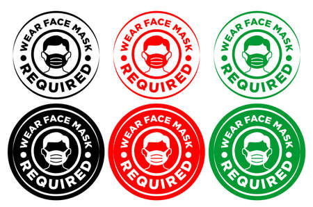 Face mask required sign. Round warning signage for restaurant, cafe and retail business on transparent background. Illustration, vector
