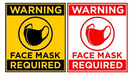 Face mask required sign. Vertical warning signage for restaurant, cafe and retail business. Illustration, vector