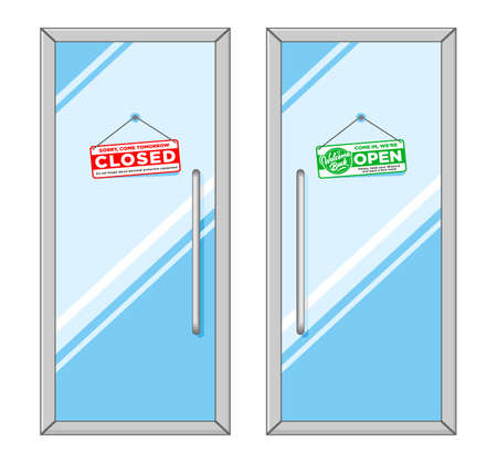 Front doors with hanging signs Open and Closed. Illustration, vector on transparent background