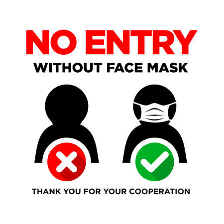 Prohibitory door sign No entry without face mask. Illustration, vector