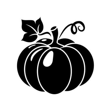 Black pumpkin silhouette icon. Vector illustration on transparent background