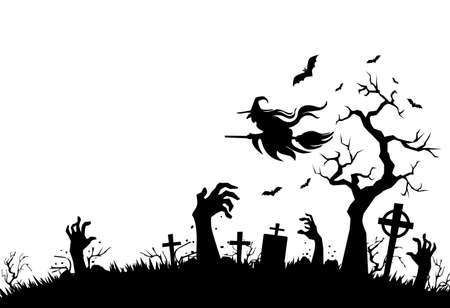 Halloween poster with horror elements: cemetery, grave, cross, zombie hands, bat, witch flies on broomstick. Illustration, vector on transparent background 向量圖像