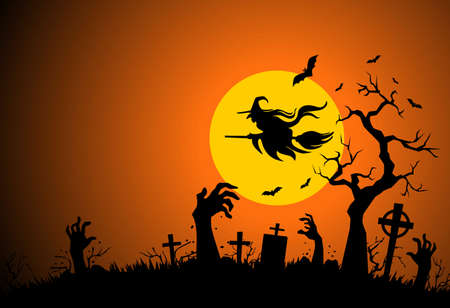 Halloween poster with horror elements: cemetery, grave, cross, zombie hands, bat, witch flies on broomstick. Illustration, vector on full moon background