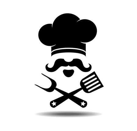 Restaurant cuisine icon , cook and kitchen flat design. Stylized chef hat, mustache and beard, fork, spatula. Vector illustration on transparent background