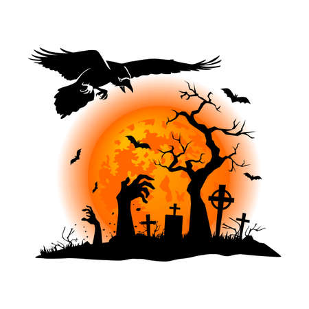 Halloween graveyard landscape with horror elements. Black raven against the background of a full moon, a grave, a dead zombie hand. Illustration, vector Illusztráció