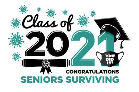 2021届毕业生。恭喜病毒存活的老人们文字设计,问候,t恤,派对,高中或大学毕业生。透明背景上的矢量