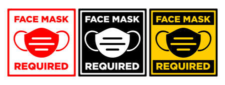 Face mask required sign. Square warning signage for restaurant, cafe and retail business. Illustration, vector