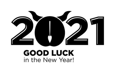 2021 wishes of good luck in the New Year. Ox, bull's ass is a funny symbol of the coming year. Vector on transparent background