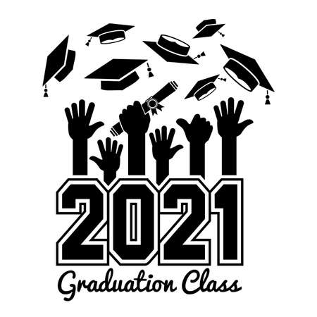 Class of 2021. The concept of design congratulations graduates of the school. Raised hands toss up the graduation caps. Can be used for greeting card, flyer, invitation, t-shirt print. Vector