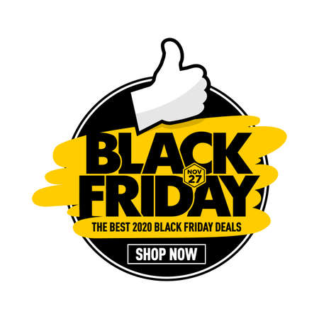 Black friday best deals web banner layout design with thumb up. Round label. Vector on transparent background