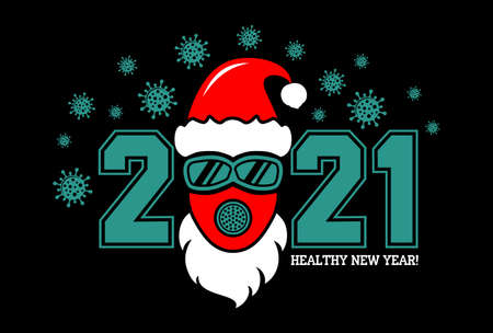 2021 Healthy New Year concept Poster with Santa hat and protective face mask and goggles. Stop flu coronavirus. Vector on black background