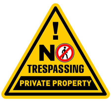 Triangular prohibition sign. Private property, no trespassing. Illustration, vector Vecteurs