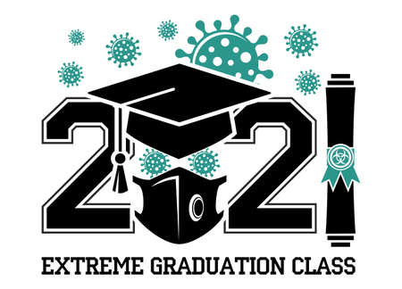 Quarantine graduation class of 2021. Concept for flyers, greeting card, prom invitations, T-shirt uniform emblems. Vector on transparent background