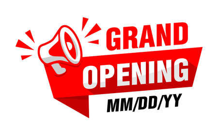 Grand opening business or office. Red advertising sticker with megaphone and date of event. Vector on transparent background