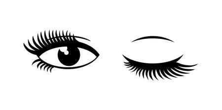 Beautiful thick female eyelashes. Open eye, Closed eye. Vector icon on transparent background