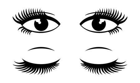 Female open and closed eyes. Vector icons on transparent background Vektorové ilustrace